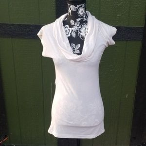 {Guess} Cowl Neck Short Sleeve Tunic Top